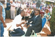 Buganda Premier Charles Peter Mayiga greeting Kivumbi Earnest benjamin