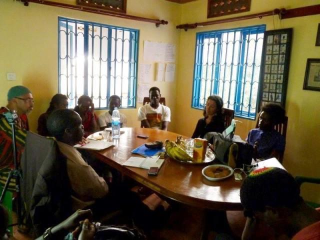 Babantu, Kivumbi Earnest Benjamin n Ugandan artists in a Meeting.JPG