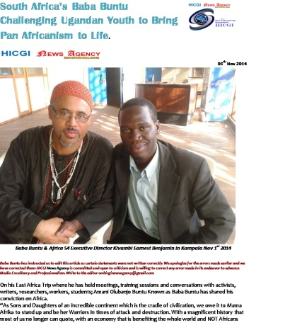 South Africa's Baba Buntu Challenging Ugandan Youth to Bring Pan Africanism to Life-HICGI News Agency