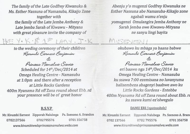 Kivumbi wedding invitation to Museveni3