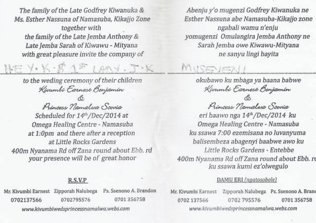 Kivumbi wedding invitation to Museveni3