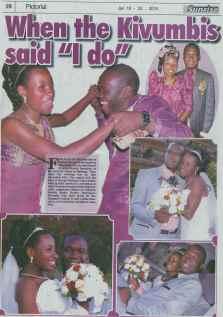 Earnest Benjamin & Princess Scovia Kivumbi Weddig in The Sunrise News Paper