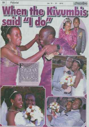Earnest Benjamin & Princess Scovia Kivumbi Weddig in The Sunrise News Paper