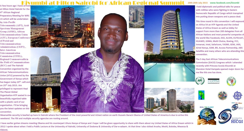 President Kivumbi Earnest Benjamin at Hilton Nairobi  fro Africa Summit