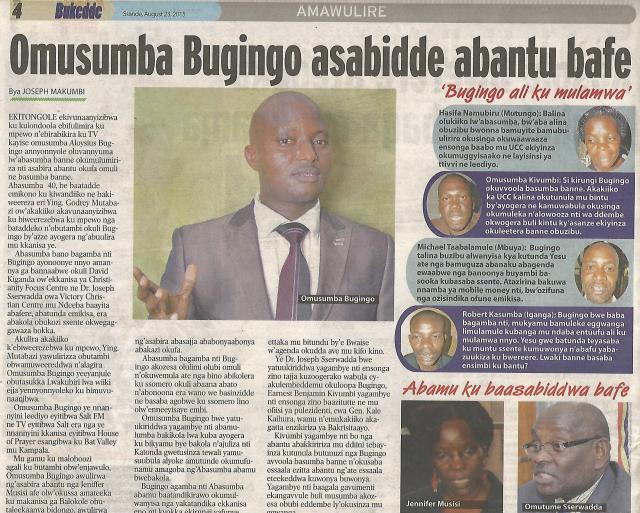 Kivumbi Leads Petition Against Pastor Bugingo in Bukedde News Paper-2