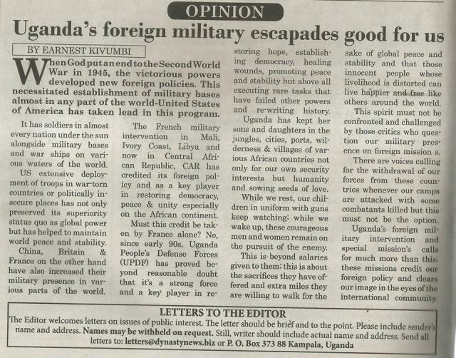 Kivumbi Earnest Benjamin Article in News Paper