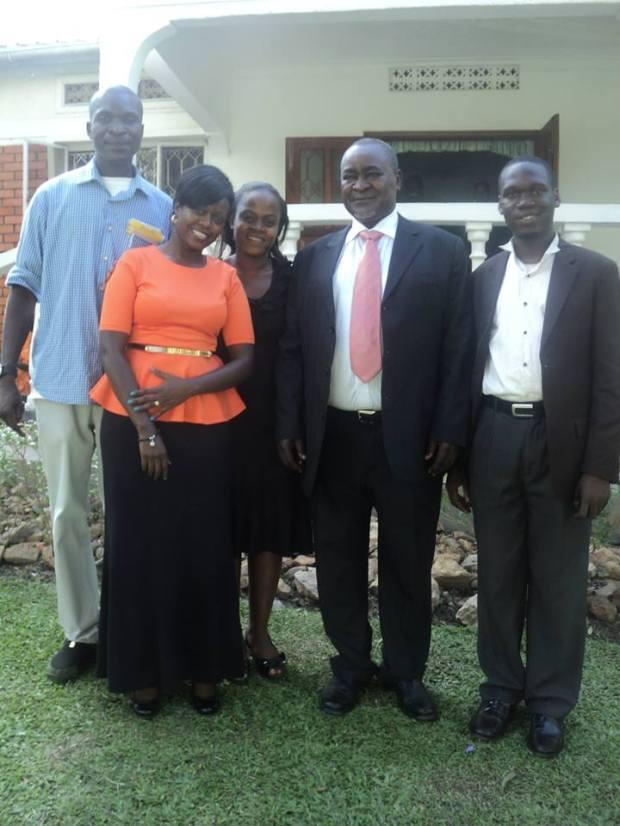 Hon Kivumbi Earnest Benjamin, EX VP Prof Gilbert Balibaseka Bukenya, daughters Josephine, Flavia n Sunday Okita