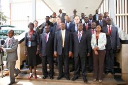 Rt Hon Dr Ruhakana Rugunda, Minsiters, Kivumbi Earnest Benjamin and International Government Figures psoe group Picture during EACO Summit at SheratonHotel Kampala
