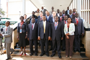 Rt Hon Dr Ruhakana Rugunda, Minsiters, Kivumbi Earnest Benjamin and International Government Figures psoe group Picture during EACO Summit at SheratonHotel Kampala