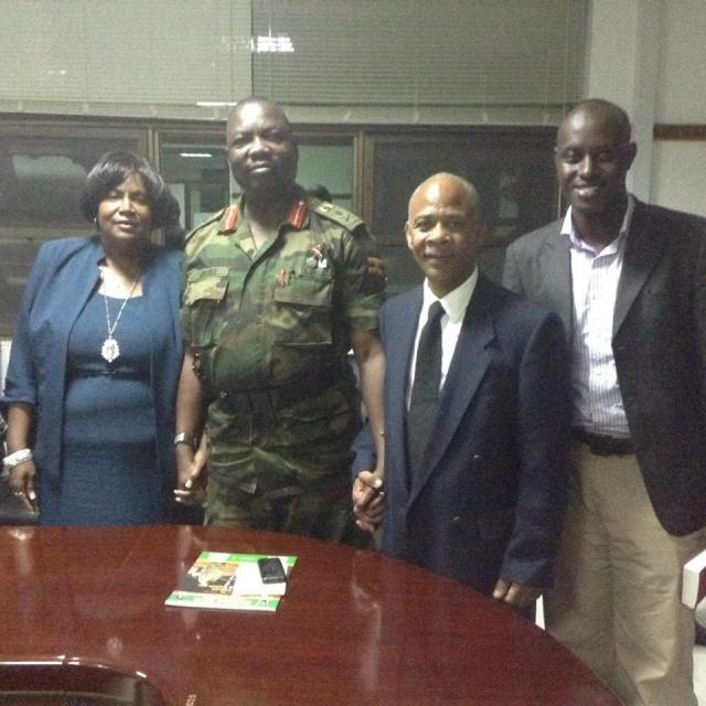 Joan & William Ross with Deputy Commander of Defence Forces for Uganda Lt Gen Chalres Angina
