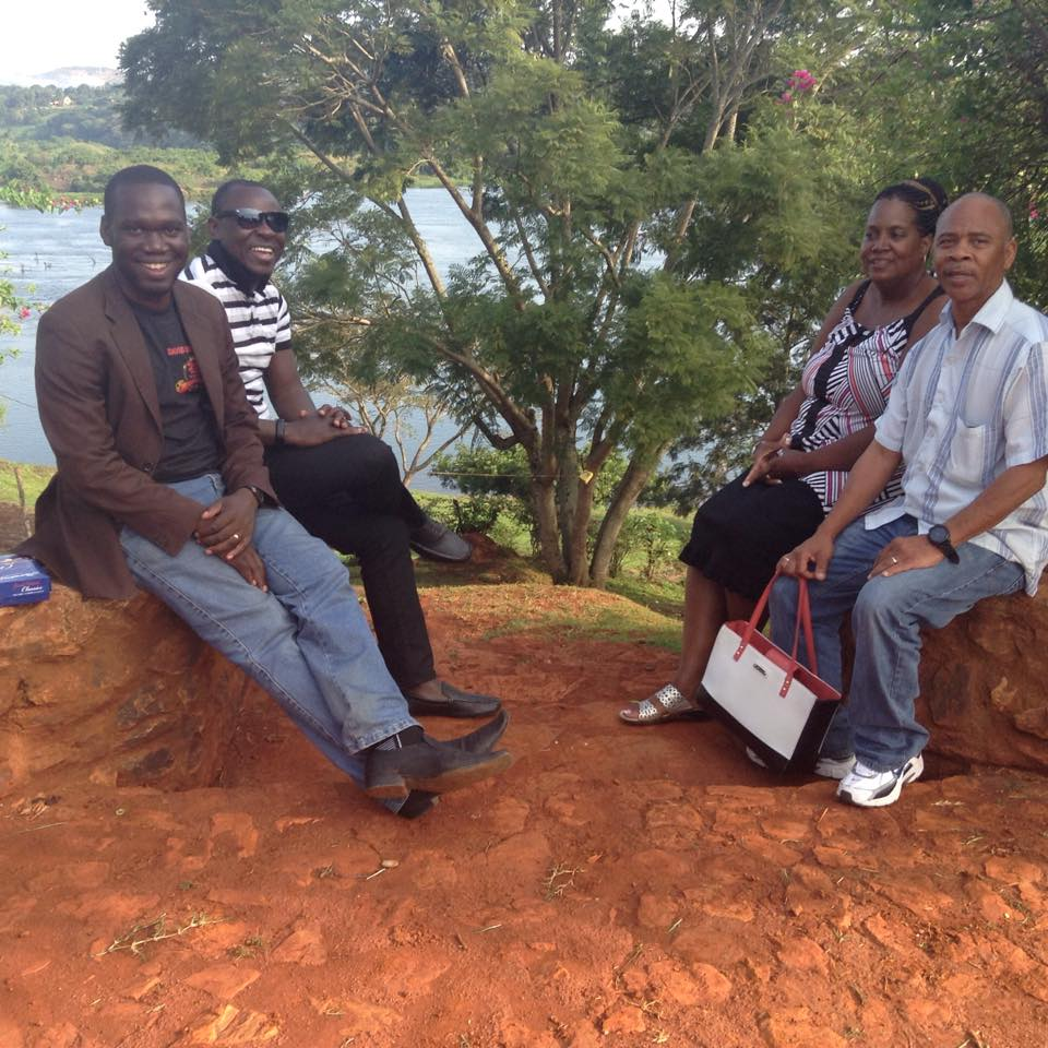 Hon Kivumbi Earnest Benjamin, Pastor Bweyinda David, American Couple Joan & William Ross at the Source of River Nile in Jinja Eastern Uganda