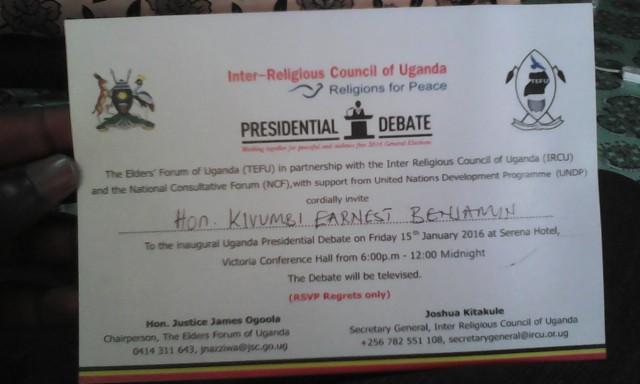 Hon Kivumbi Earnest Benjamin Invited for Presidential Debate 2016 (5)