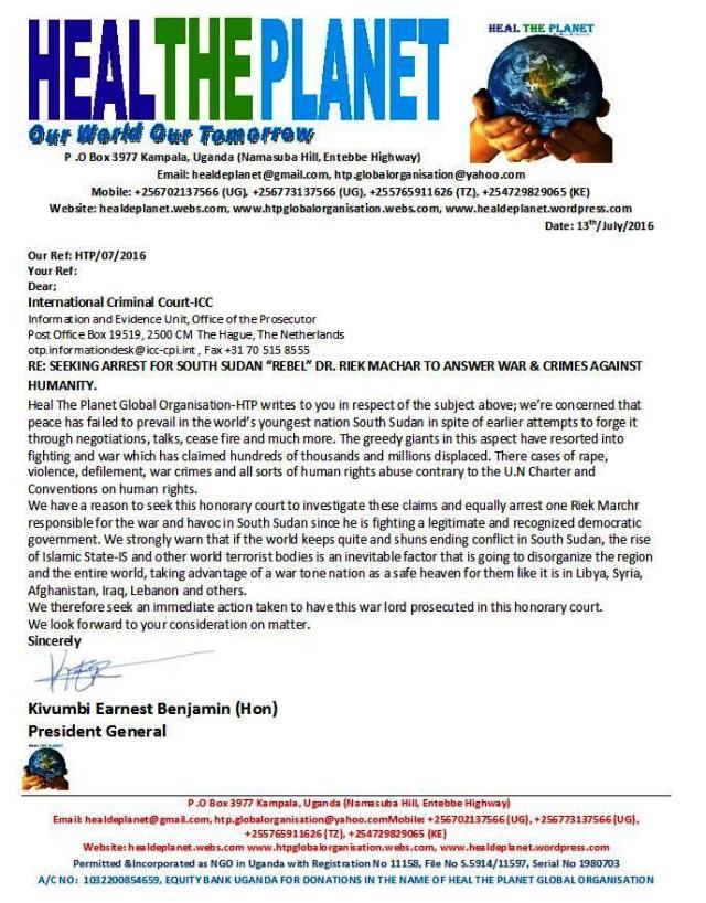 HTP Seeks ICC Arrest of Riek Machar
