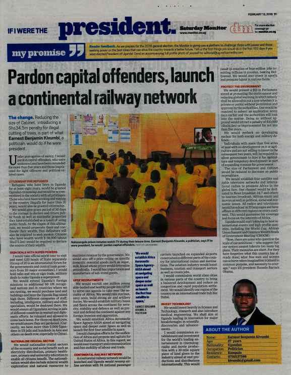 Kivumbi Earnest Benjamin in Daily Monitor-If I were President