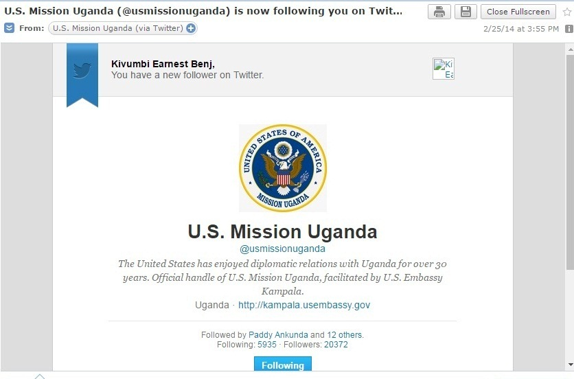 US Embassy following Kivumbi on Twitter - Copy