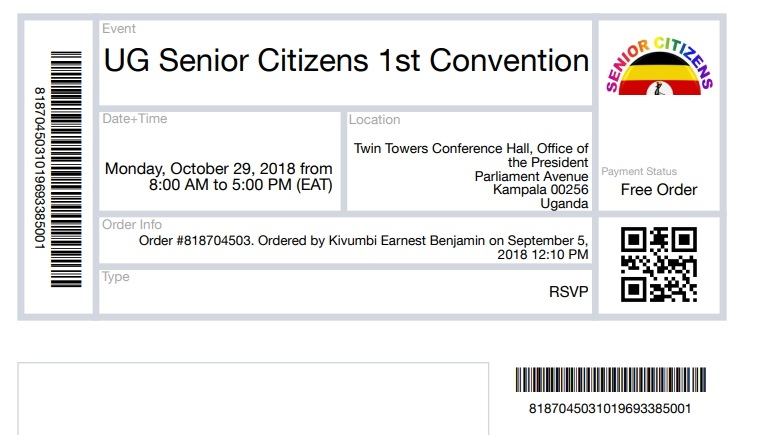 UG Senior Citizens Convention Ticket